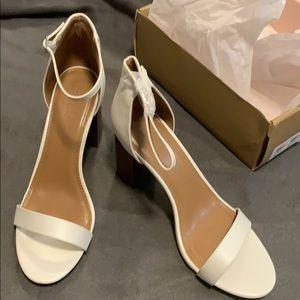 White straps heels